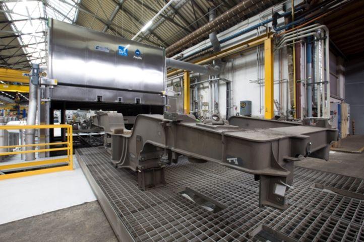 Drehgestell im Bahninstandhaltungswerk vor BvL-Reinigungsanlage Pacific