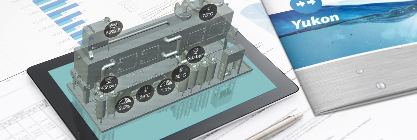 Virtuelle BvL-Reinigungsanlage mit Prozessdaten erscheint auf Tablet