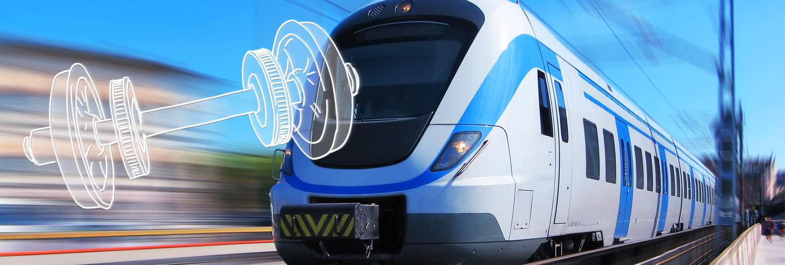 Bahn in Bewegung und Radsatz einer Bahn
