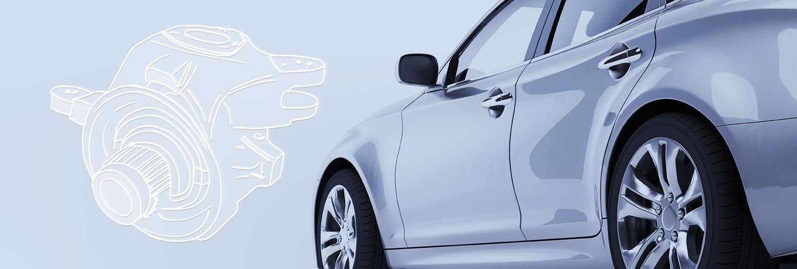 Auto und Bauteil aus der Fahrzeugtechnik
