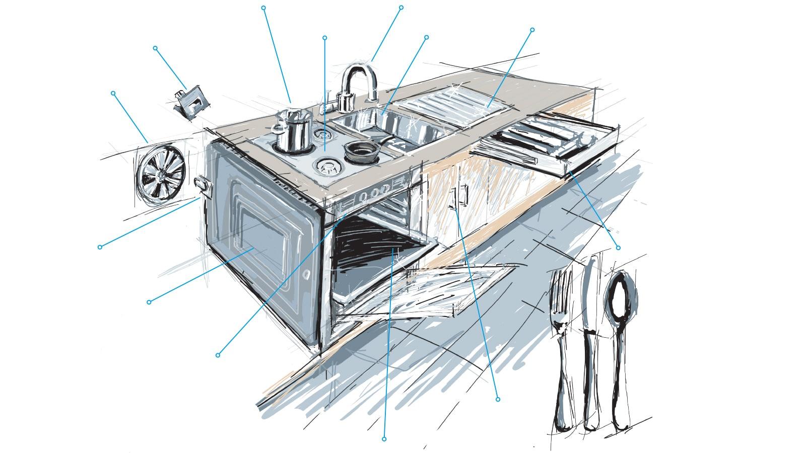 Zeichnung Küche