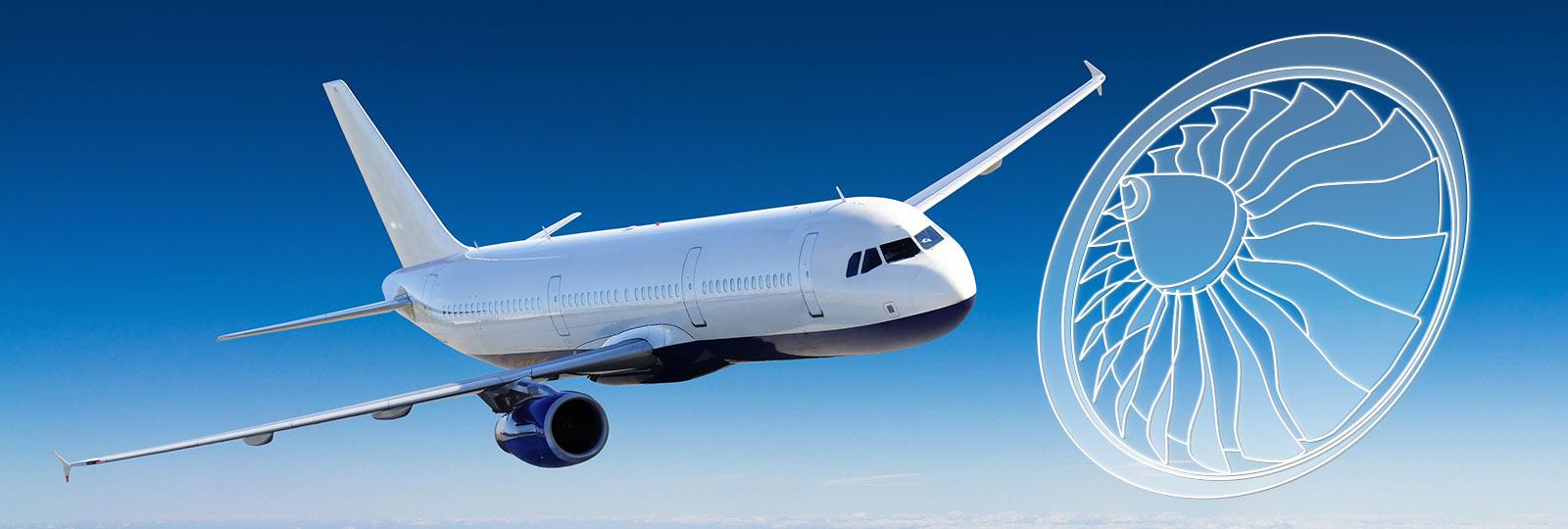 Flugzeug über den Wolken und Turbinenzeichnung