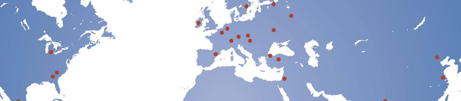 Weltkarte mit eingezeichneten Standorten der BvL-Vertriebspartner international