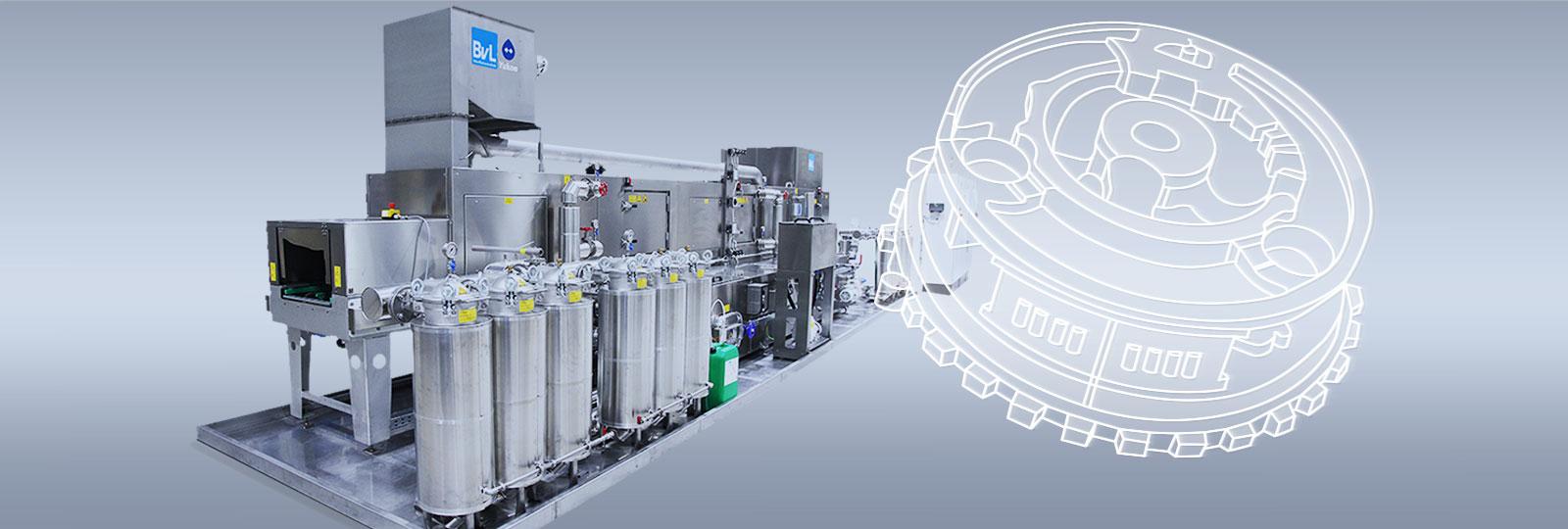 Durchlaufanlage Yukon zur Spritzreinigung im integrierten Anlagensystem