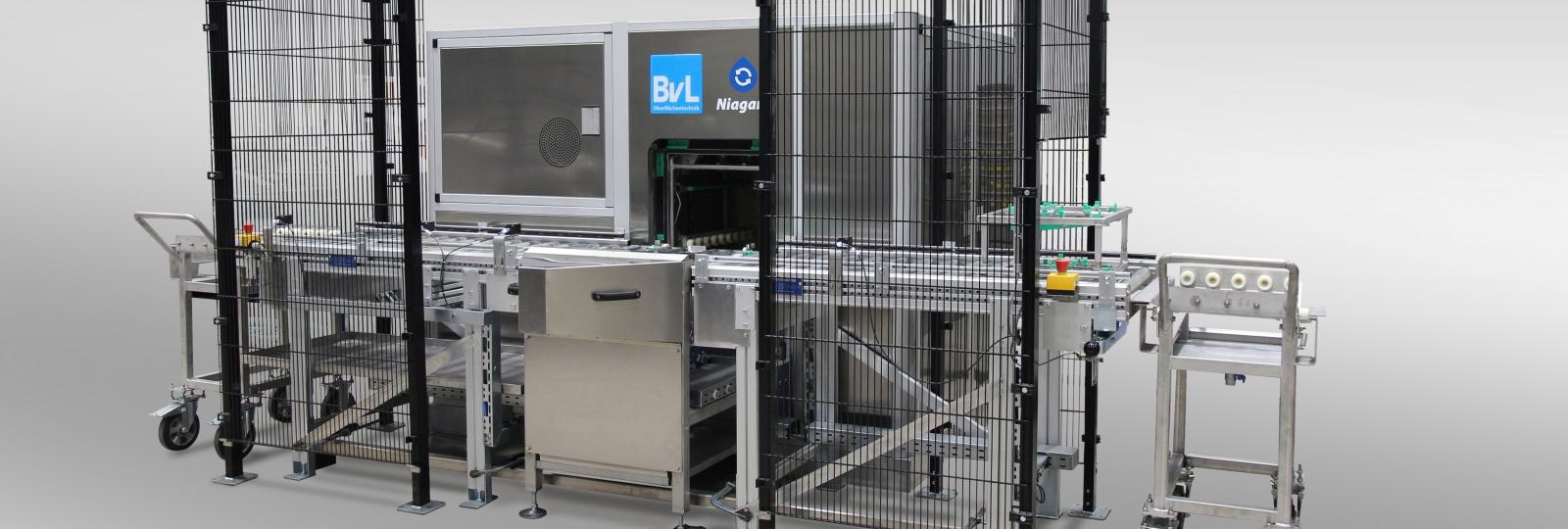 Die BvL-Reinigungsanlage NiagaraMO ist eine kompakte Zwei-Tank-Flut-/Spritzreinigungsanlage mit kompakter Bauweise