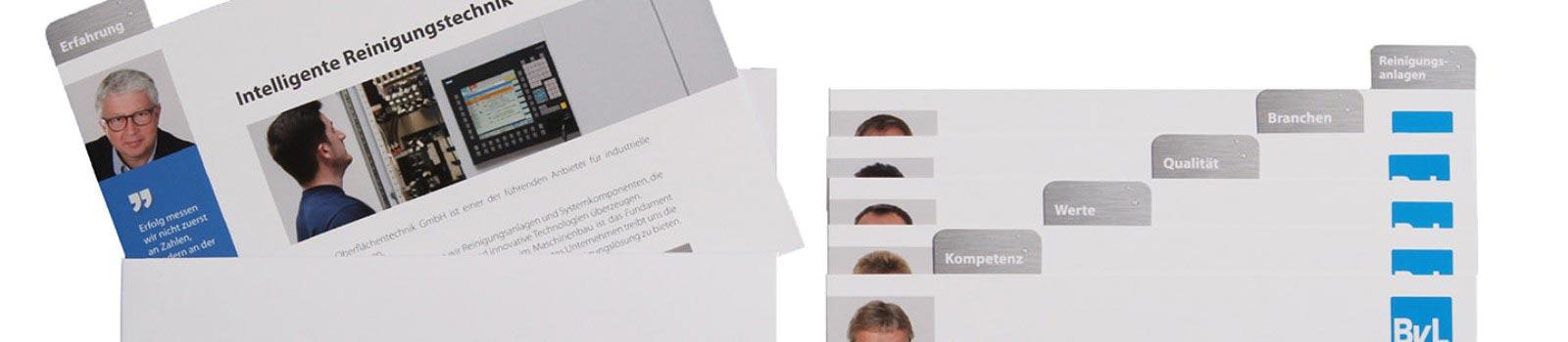 Imagebox, 12 Karten mit den Werten und Leistungen der BvL Oberflächentechnik
